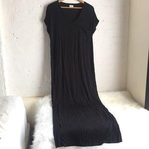 Zara black stretchy t-shirt maxi dress